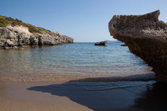 Kolymbia beach with rocky coast, Rhodes Royalty Free Stock Photo