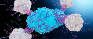 Komórka nowotworowa atakuje leukocytes royalty ilustracja