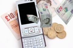 komórka odizolowywał pieniądze telefon Obraz Stock