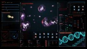 Komórka podziału 3D animacja, biologia Inżynieria genetyczna w cyfrowym deska rozdzielcza pokazu panelu royalty ilustracja