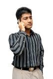 komórki biznesowego indyjski człowiek używa young Fotografia Stock