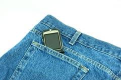 komórki cajgowa telefonu kieszeń Zdjęcie Stock