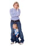 komórki dziecko zakłóca macierzystą figlarnie rozmowę Fotografia Royalty Free