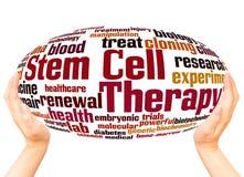 Komórki macierzystej terapii słowa chmury ręki sfery pojęcie zdjęcie royalty free