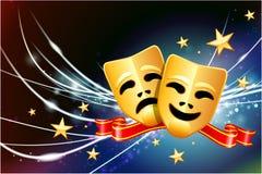 Komödien-und Tragödien-Masken auf abstraktem modernem hellem Hintergrund Lizenzfreie Stockfotos