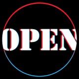 Kom aan ons wij zijn open Vector illustratie Megaaanbieding voor plaatsen en reclame Donkere kleurensticker royalty-vrije illustratie