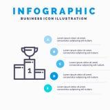 Kom, Ceremonie, Kampioen, Kop, het pictogram van de Drinkbekerlijn met infographicsachtergrond van de 5 stappenpresentatie royalty-vrije illustratie