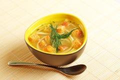 Kom de soep van de kippennoedel royalty-vrije stock foto's