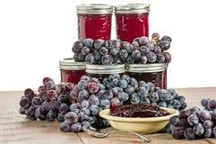 Kom druivengelei met geïsoleerde kruiken Royalty-vrije Stock Afbeelding