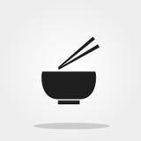 Kom en eetstokje leuk pictogram Stock Afbeeldingen