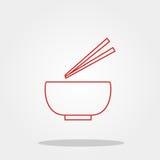 Kom en eetstokje leuk pictogram in in vlakke die stijl op kleurenachtergrond wordt geïsoleerd Keukengereisymbool voor uw ontwerp, Stock Foto's