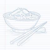 Kom gekookte rijst met eetstokjes Royalty-vrije Stock Fotografie