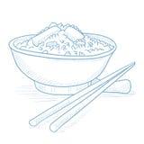 Kom gekookte rijst met eetstokjes Stock Fotografie
