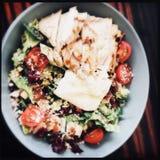 Kom geroosterde kippensalade stock afbeeldingen