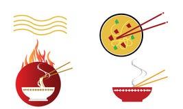 Kom hete oosterse noedelsoep met eetstokjes stock illustratie