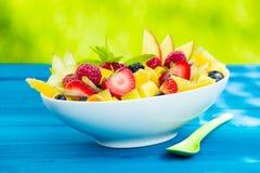 Kom kleurrijke smakelijke tropische fruitsalade Stock Foto