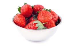 Kom met aardbeien royalty-vrije stock foto's