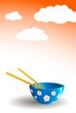 Kom met eetstokjes Stock Illustratie