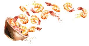 Kom met garnalen Hand getrokken horiÑ ontal waterverf  Stock Fotografie