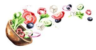 Kom met Griekse salade met verse groenten en feta-kaas Waterverfhand getrokken horizontale die illustratie, op wit terug wordt ge stock illustratie