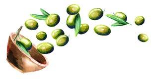 Kom met groene olijven Hand getrokken horizontale illustratie Stock Afbeelding