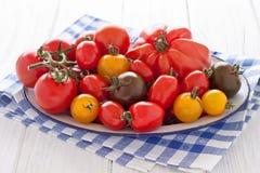 Kom met kleurrijke tomaten Stock Foto's