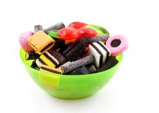 Kom met suikergoed stock foto's