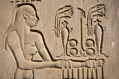 Kom Ombo temple. Details of Egyptian art. An example of the art of the pharaohs Stock Images