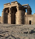Kom-Ombo temple. Main entrance view of Kom-Ombo egyptian temple royalty free stock photography