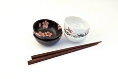 Kom sojasaus, de Reeks van Sushi Royalty-vrije Stock Afbeeldingen