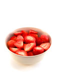 Kom van aardbeien in close-up Stock Foto