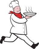 Kom van de de kok de lopende dienende hete soep van de chef-kok Royalty-vrije Stock Fotografie