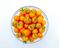 Kom van Gouden Cherry Tomatoes Royalty-vrije Stock Foto's
