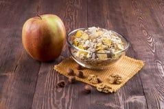 Kom van muesli, appel, noten, vlokken, geglaceerd voor voedzame B royalty-vrije stock foto