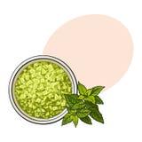Kom van organische, groene aromatisch, illustratie van de bad de zoute, hoogste mening stock illustratie