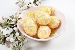 Kom van paaseieren en mooie bloeiende appeltak Stock Foto's