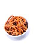 Kom van pretzels Stock Foto's
