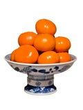 Kom van Sinaasappelen stock afbeeldingen
