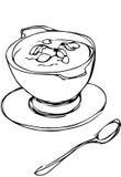 Kom van soep met kruiden en lepel die daarna liggen Stock Afbeeldingen
