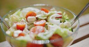 Kom verse gemengde groene salade stock footage