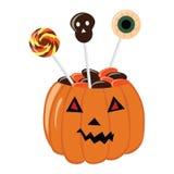 Kom voor snoepjes op Halloween in een pompoen De truc of behandelt kom Royalty-vrije Stock Foto