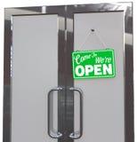 Kom in wij zijn OPEN Bedrijfsdeurteken vector illustratie