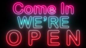 Kom in wij zijn open - Neon stock illustratie