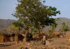 Koma Alantika山的部落人村庄  卡麦隆 免版税库存图片
