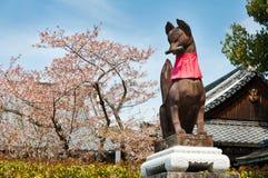 Komainu lub lisa opiekunu statua przed świątynią Zdjęcia Royalty Free