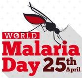 Komar sylwetka Gryźć Światowego malaria dnia znaka, Wektorowa ilustracja Obrazy Stock