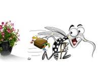 Komar ucieka puszkującej rośliny Fotografia Royalty Free