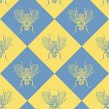Komarnica błękitny i żółty wektorowy bezszwowy wzór royalty ilustracja