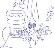 Komarnica kocha lemoniadę Kreskówka mrowie komarnicy iść butelka ilustracji