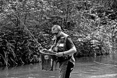 Komarnica wędkarz rybak lub Zdjęcia Stock
